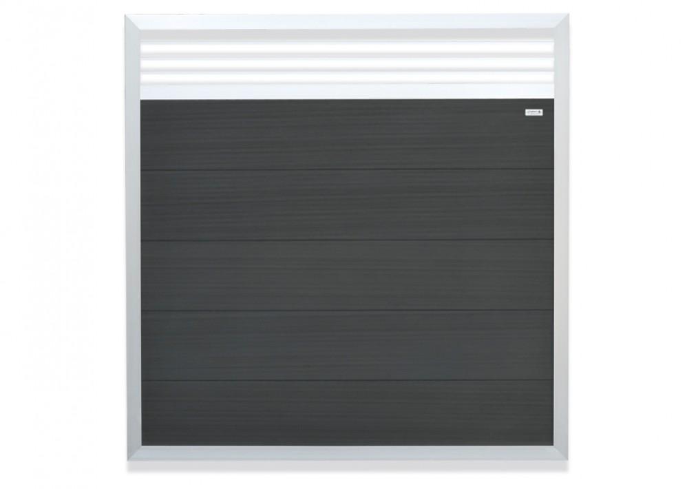 Forte WPC Sichtschutzzaun Deco Anthrazit mit Alurahmen 180 x 180 cm
