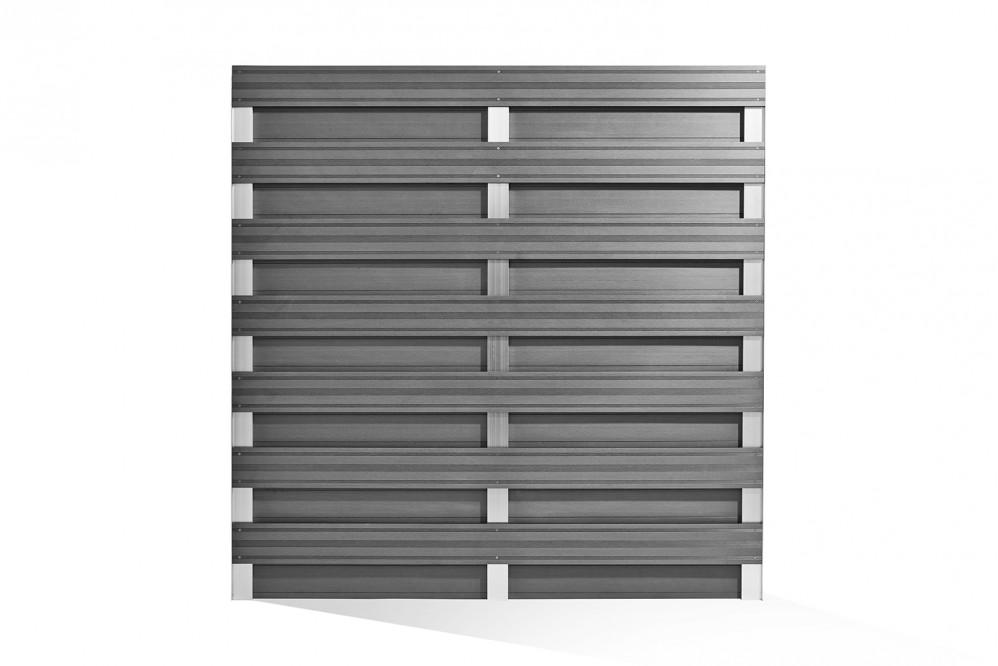 WPC-Sichtschutz 180x180 cm grau-silber