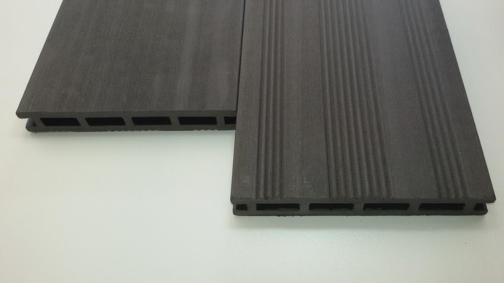 WPC-Diele 2,1 x 14,5 x 225 cm anthrazit Franz.Profil / gebürstet