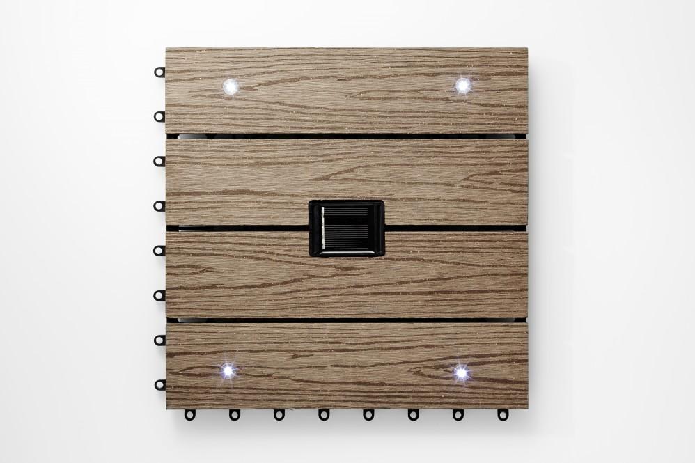 WPC-Fliese, Holz-Look dunkelbraun mit LED
